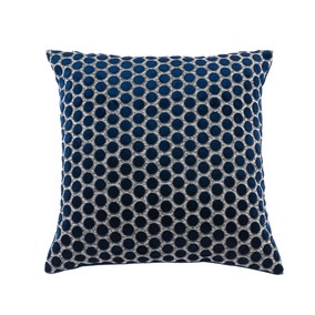 Cut Velvet Polka Dot Navy Cushion