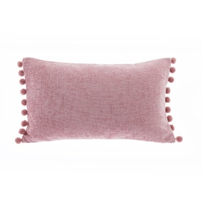 Chenille PomPom Blush Boudoir Cushion