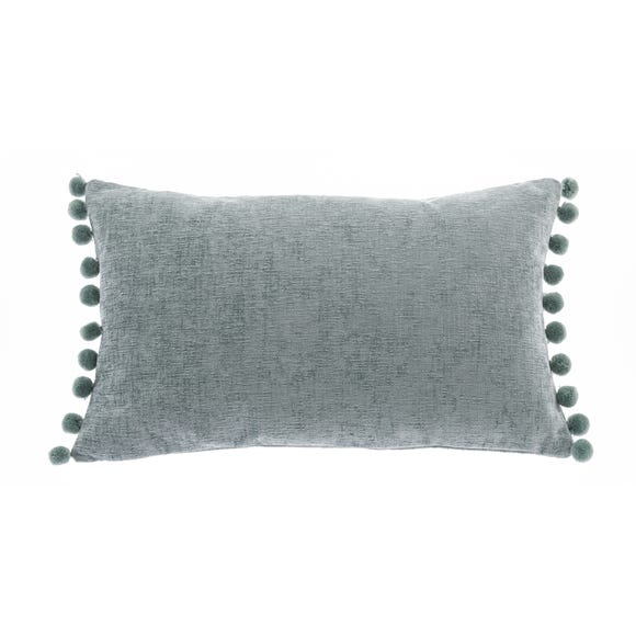 Chenille PomPom Boudoir Cushion Duck Egg (Blue)