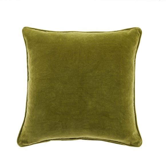 Clara Cotton Velvet Square Cushion Green undefined