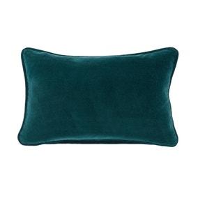 Clara Cotton Velvet Rectangular Teal Cushion