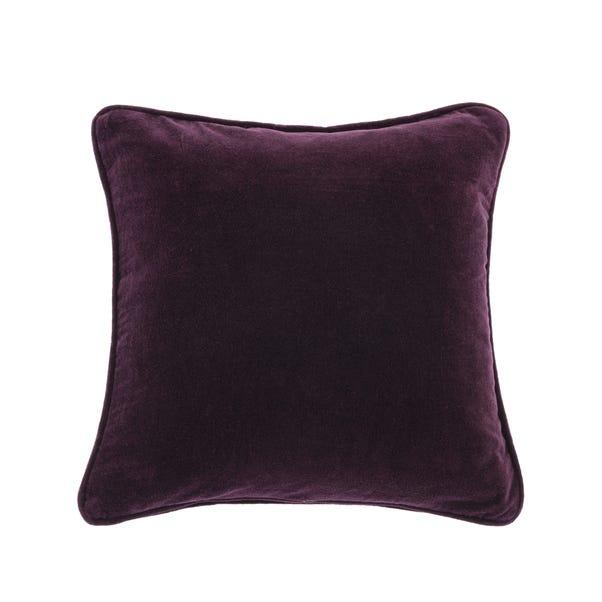 Clara Cotton Velvet Square Cushion Aubergine (Purple) undefined