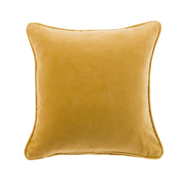 Clara Cotton Velvet Square Cushion Ochre undefined