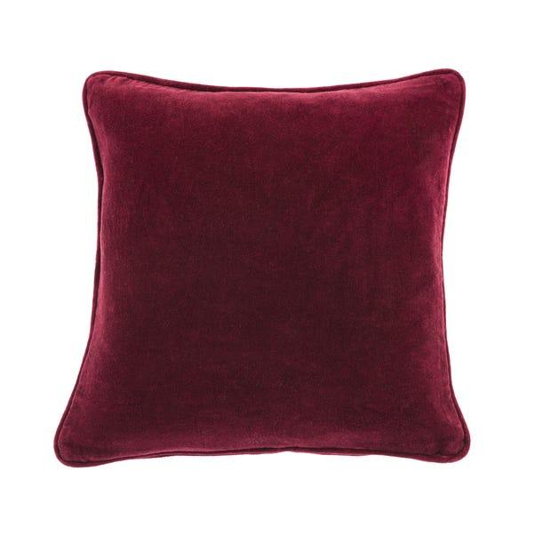 Clara Cotton Velvet Cushion Red undefined