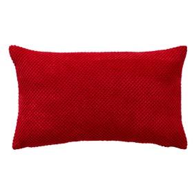 Chenille Spot Rectangular Red Cushion