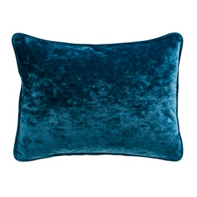 Crushed Velour Rectangular Peacock Cushion
