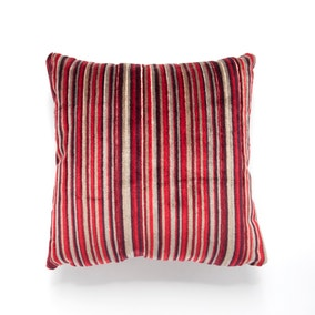 Cut Velvet Red Striped Cushion