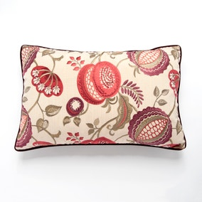 Edina Embroidered Red Floral Cushion