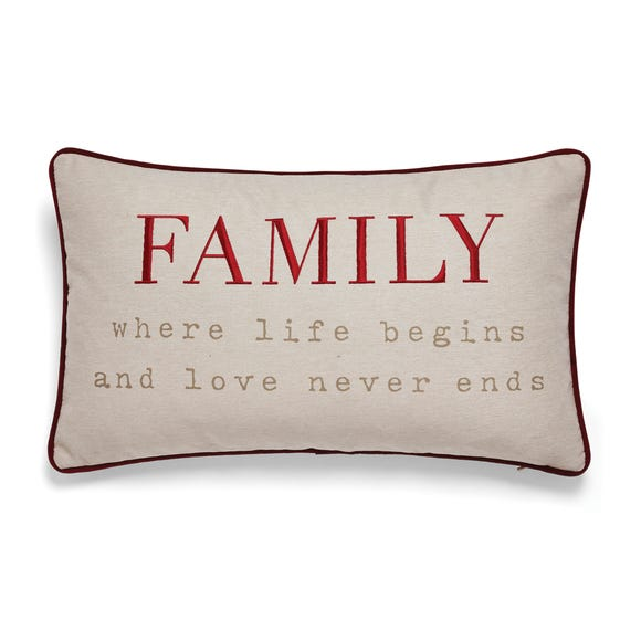 Family Embroidered Red Cushion Red