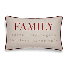 Family Embroidered Red Cushion