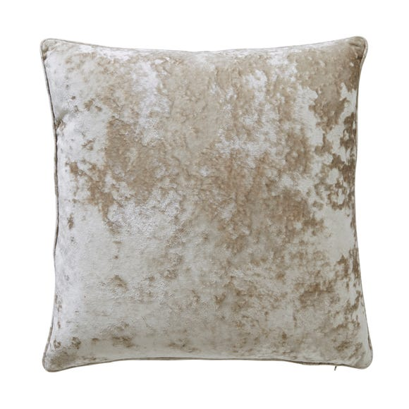 Large Crushed Velour Champagne Cushion Champagne
