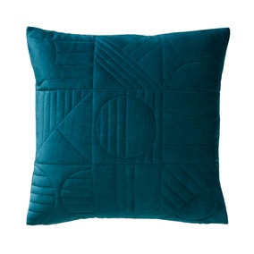 Elements Sten Quilted Geo Teal Cushion