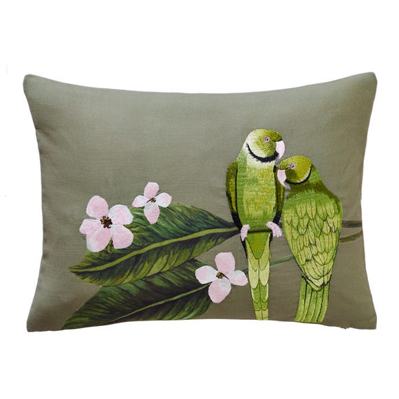 Parakeets Embroidered Green Cushion Green