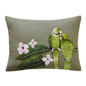 Parakeets Embroidered Green Cushion