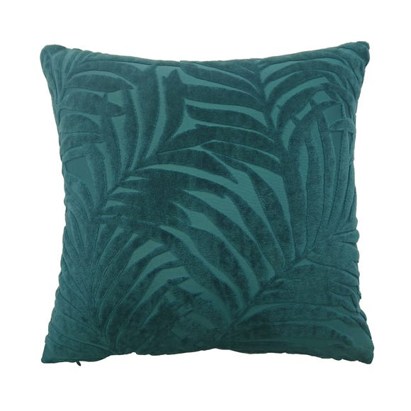 Palm Leaf Teal Cut Velvet Cushion Teal (Blue)