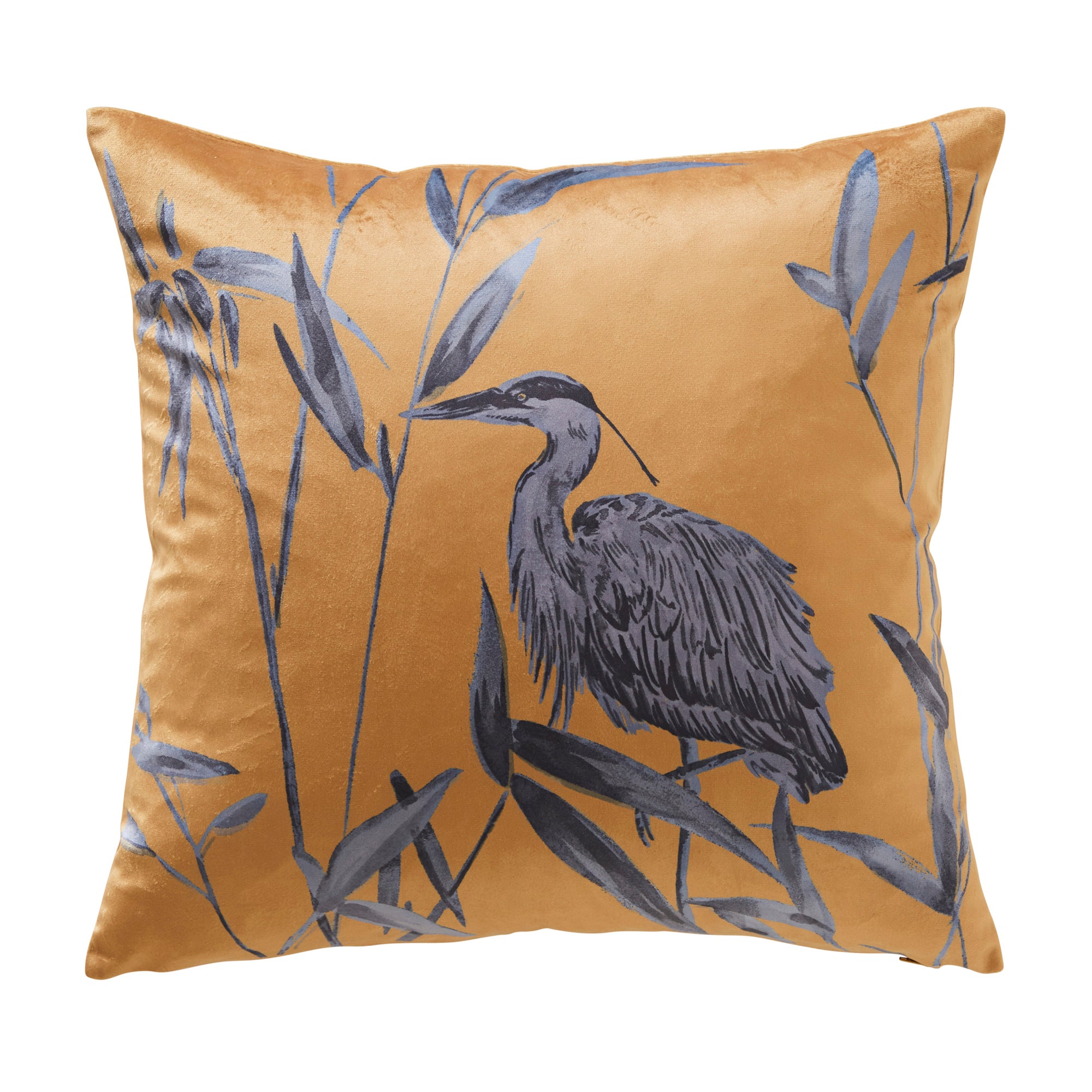 Click to view product details and reviews for Bamboo Heron Ochre Velvet Cushion Ochre Yellow And Grey.