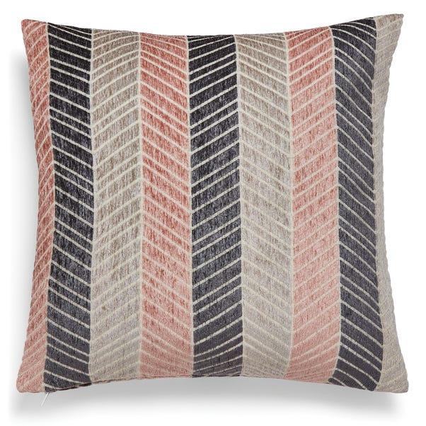 Chevron Chenille Cushion Blush