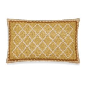 Trellis Embroidered Woven Ochre Cushion