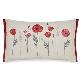 Poppies Red Embroidered Cushion