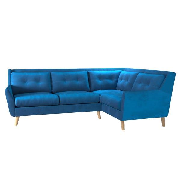 Halston Velvet Right Hand Corner Sofa Blue
