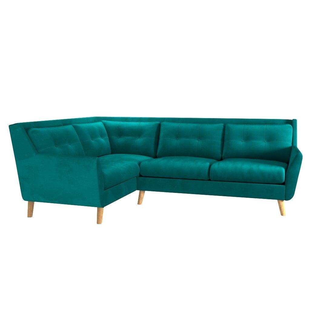 Halston Velvet Left Hand Corner Sofa Green