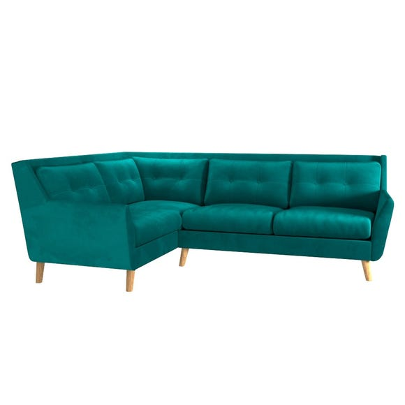 Halston Velvet Left Hand Corner Sofa Dark Green