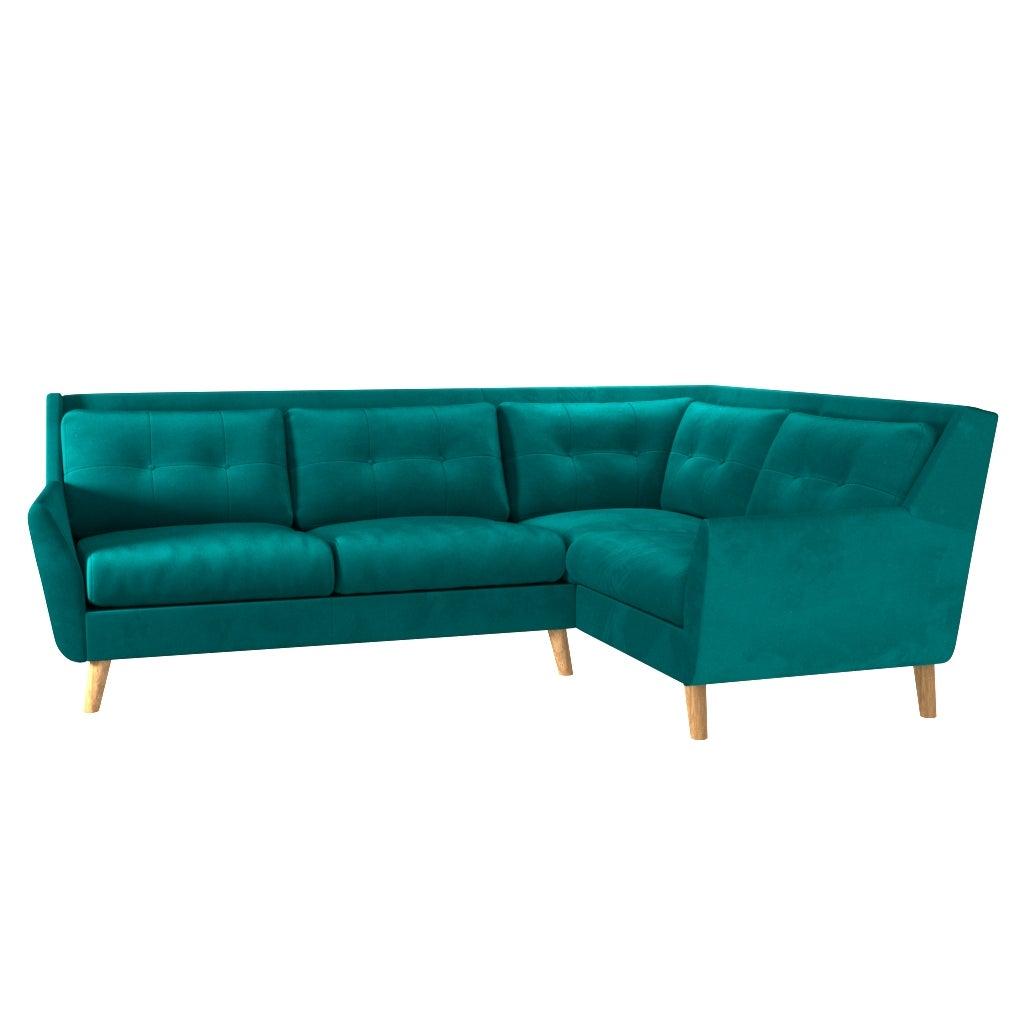 Halston Velvet Right Hand Corner Sofa Green