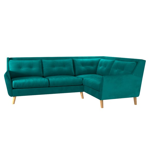 Halston Velvet Right Hand Corner Sofa Dark Green