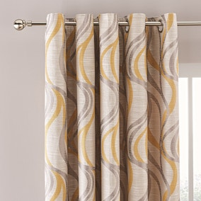 Mirage Ochre Jacquard Eyelet Curtains
