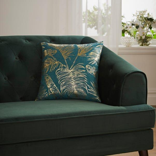 Tropical Leaf Teal Cushion Cover Teal (Blue)