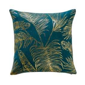 Tropical Leaf Teal Cushion Cover