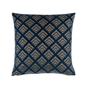 Velvet Geo Foil Navy Cushion Cover