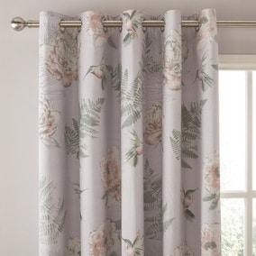 Heavenly Hummingbird Blush Eyelet Curtains