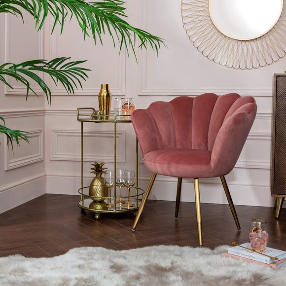 Vivian Velvet Cocktail Chair - Rose
