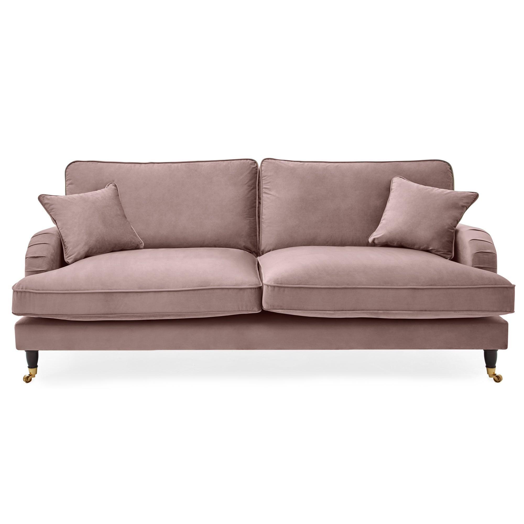 Dunelm Rupert 4 Seater Velvet Sofa Blush (Pink)