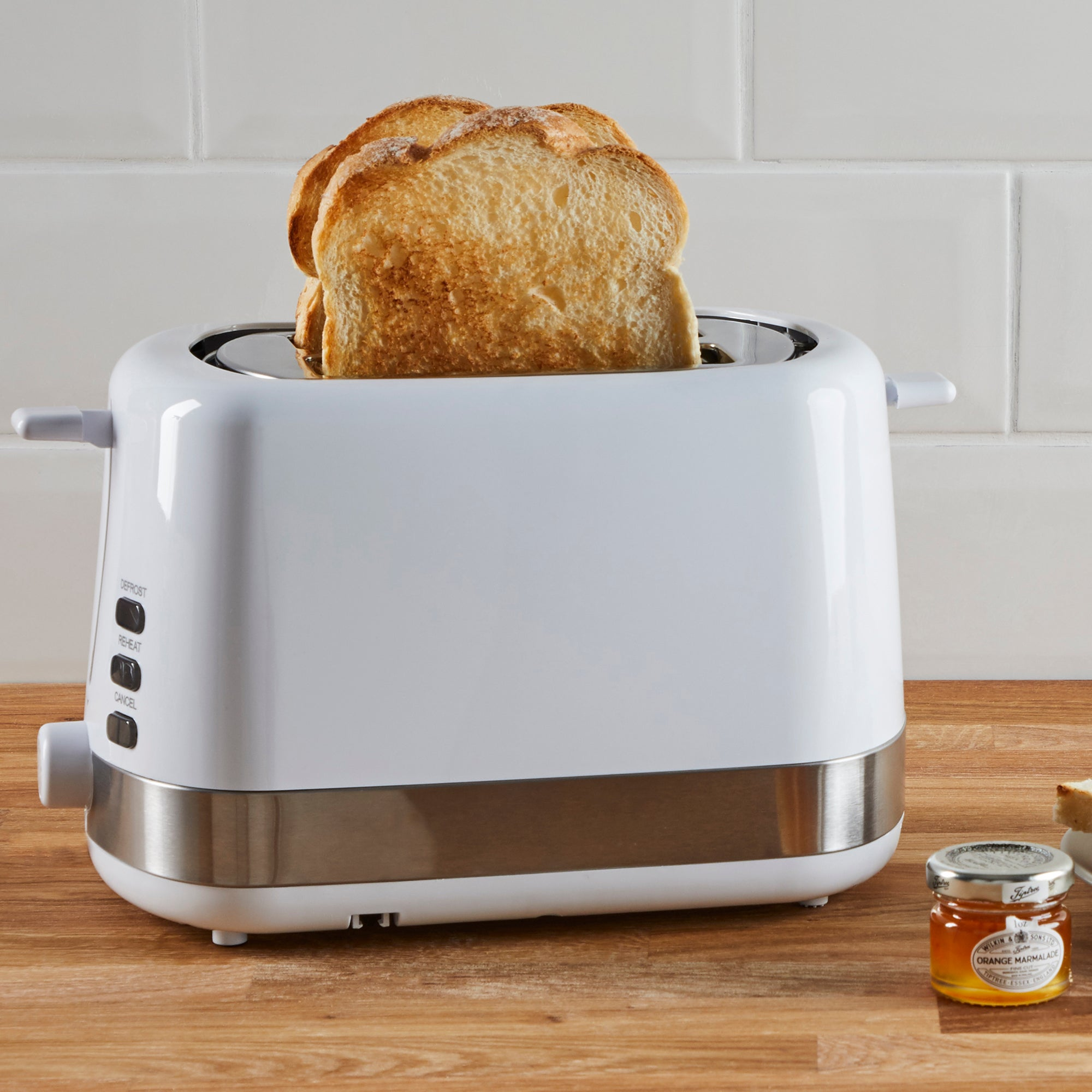Dunelm 2 Slice Plastic White Toaster White And Silver