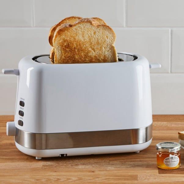Dunelm 2 Slice Plastic White Toaster White