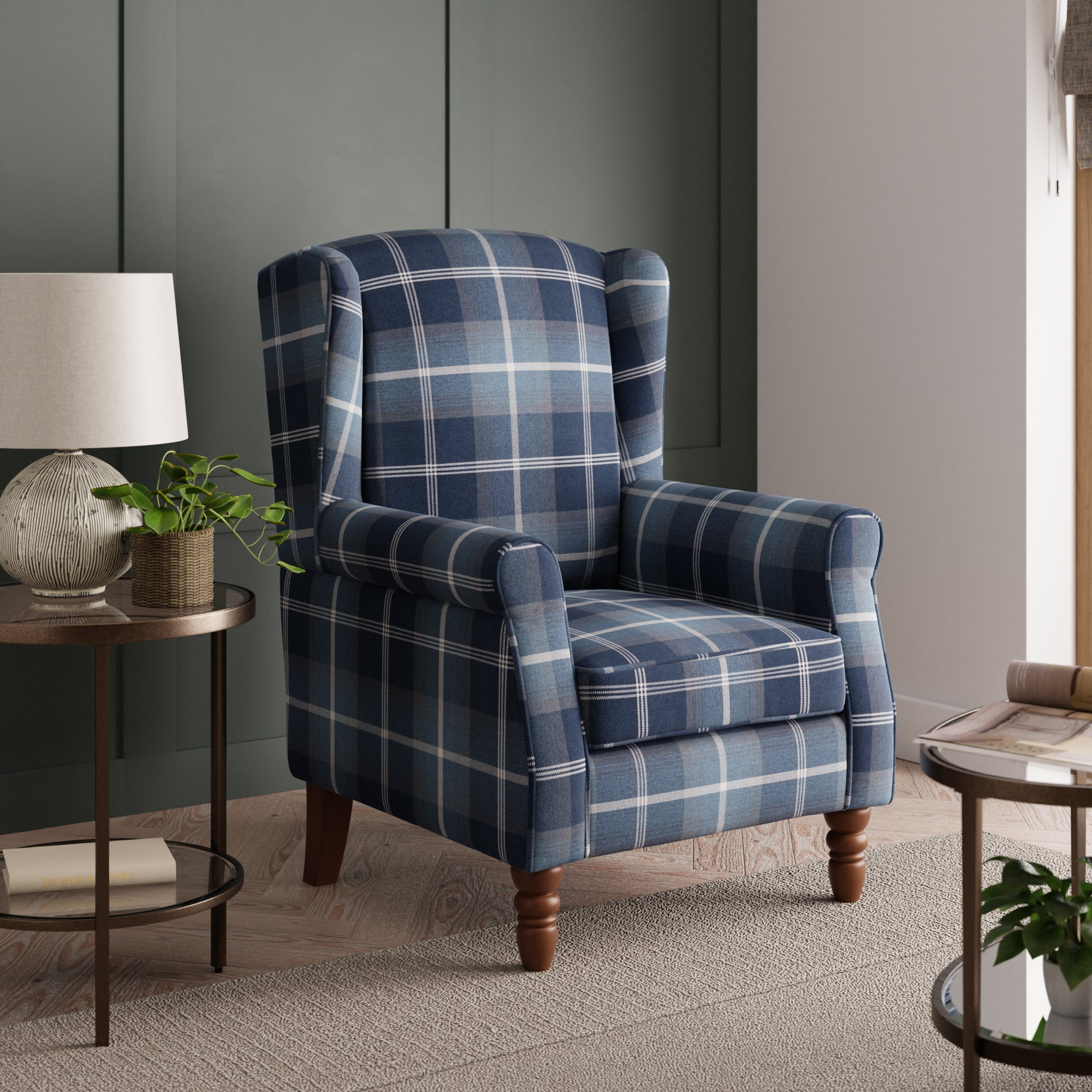 Oswald Check Wingback Armchair - Navy Blue, Beige and White