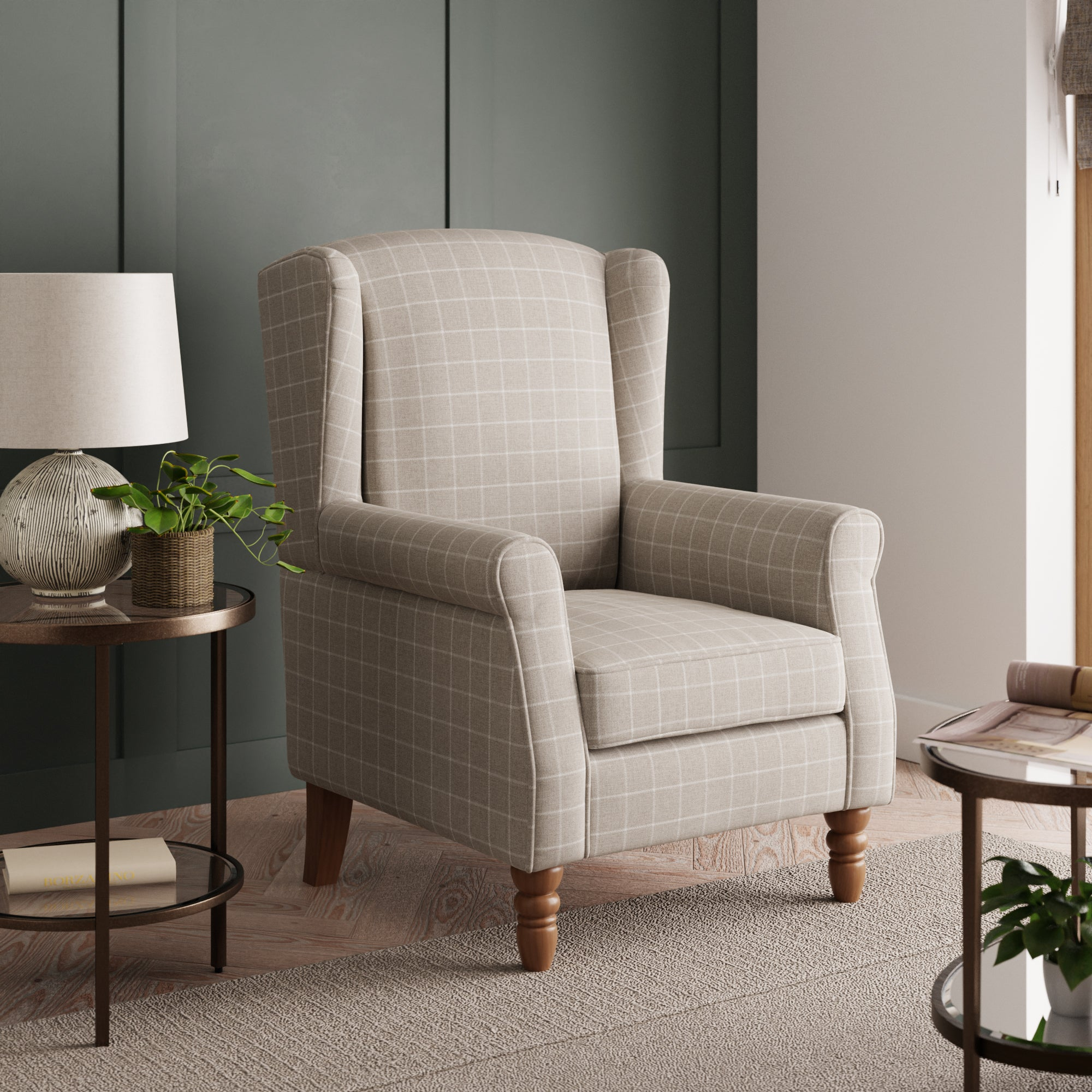 Oswald Window Pane Check Wingback Armchair - Natural Brown and White