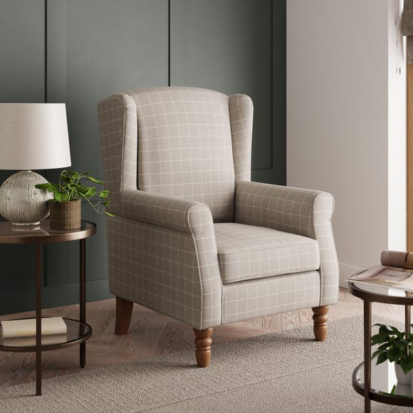 Oswald Window Pane Check Wingback Armchair - Natural