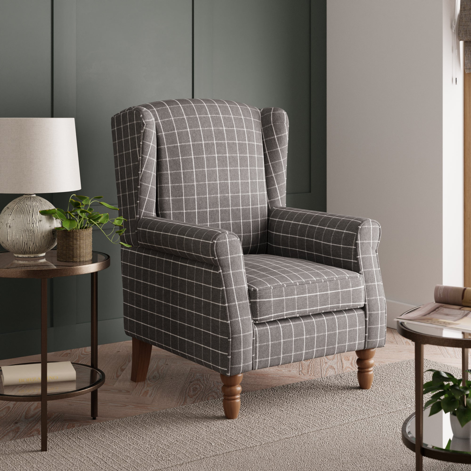 Oswald Window Pane Check Wingback Armchair - Grey Grey and White