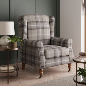 Oswald Grande Check Wingback Armchair - Grey
