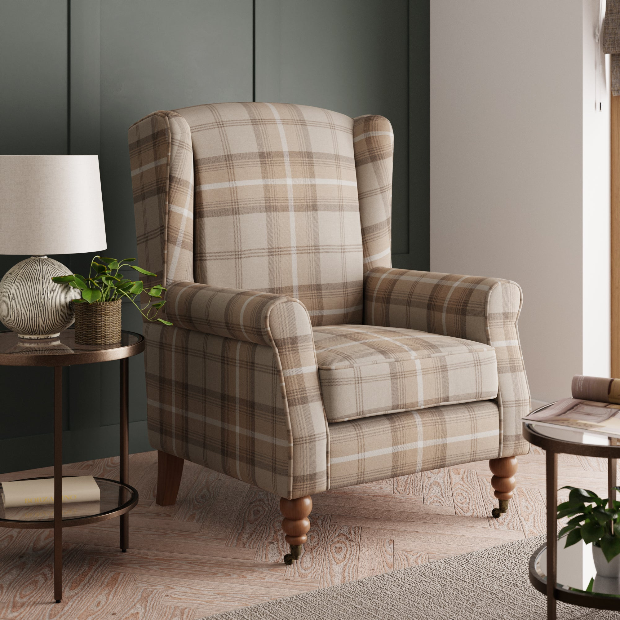 Oswald Grande Check Wingback Armchair - Natural Beige and White