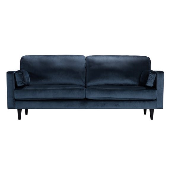 Sheldon Velvet 3 Seater Sofa Ink (Blue)