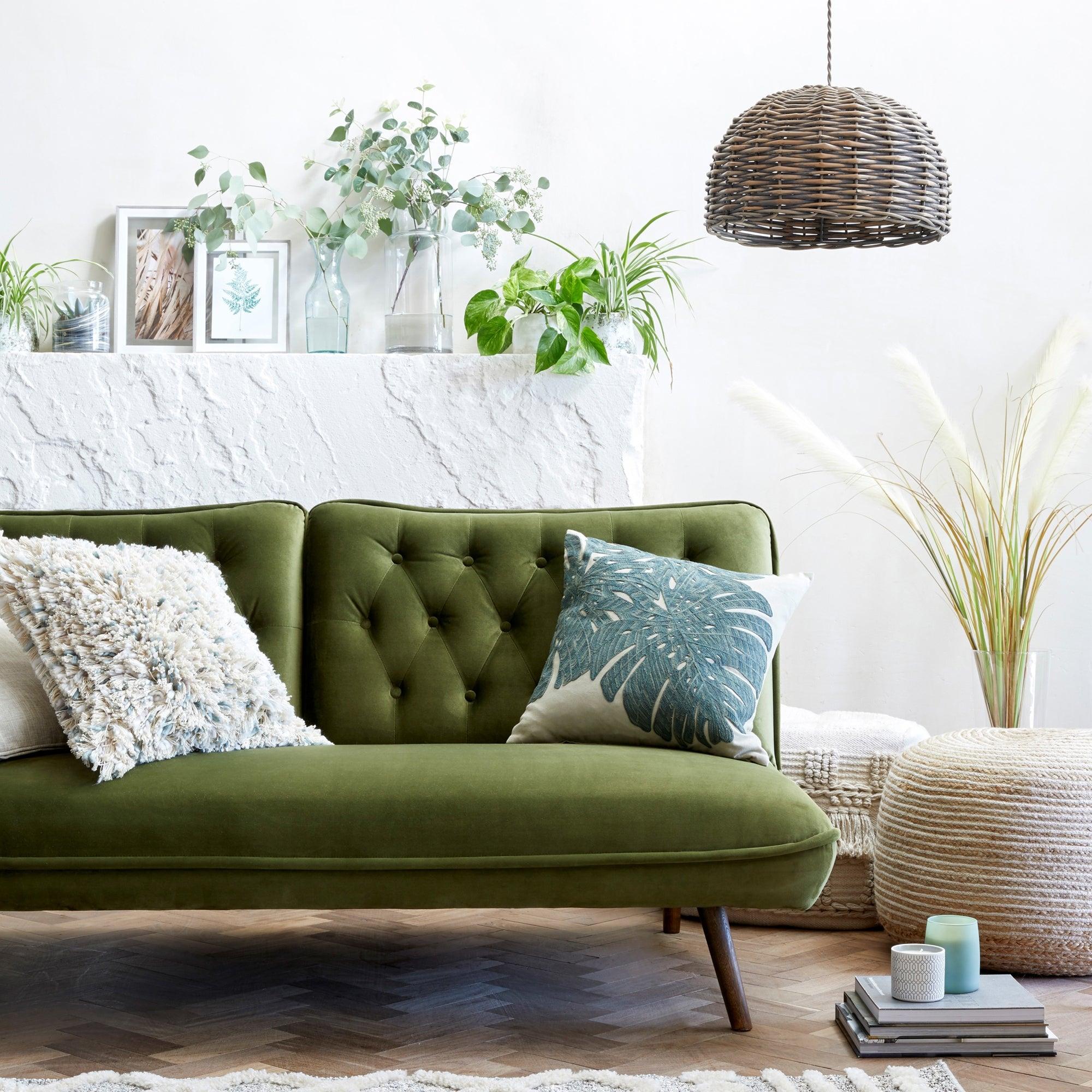 Elodie Velvet Sofa Bed Green