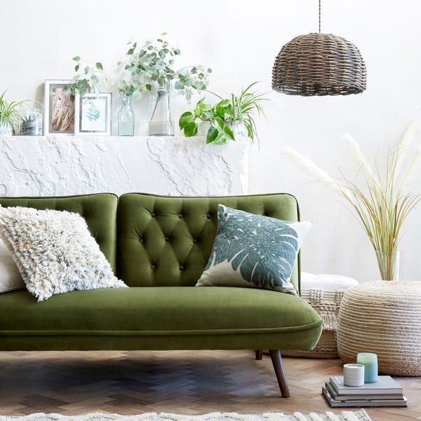 Elodie Velvet Sofa Bed Moss Green Elodie
