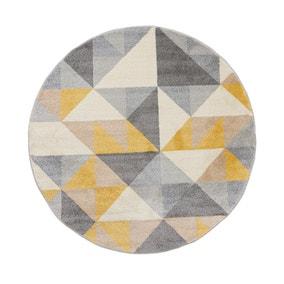 Geo Squares Circle Rug