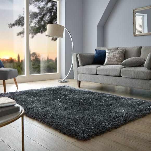 Riviera Sparkle Shaggy Rug Riviera Charcoal undefined