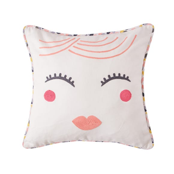 Elements Lady Face Embroidered Cushion MultiColoured