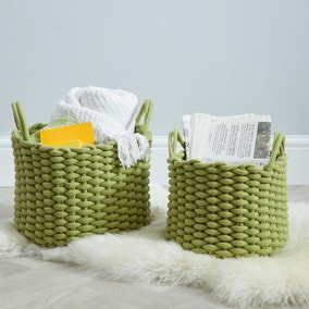 Set of 2 Round Knitted Green Storage Baskets